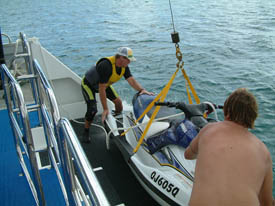 Getting the jet ski into the water to cruise